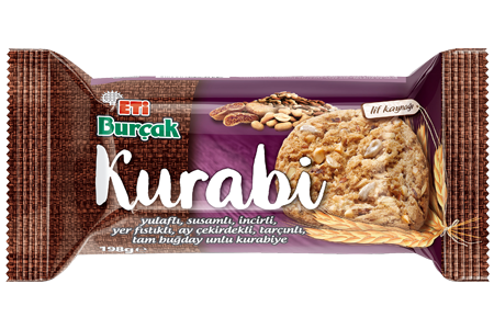 Eti Burçak Kurabi Whole Wheat Flour Cookie with Oatmeal, Sesame