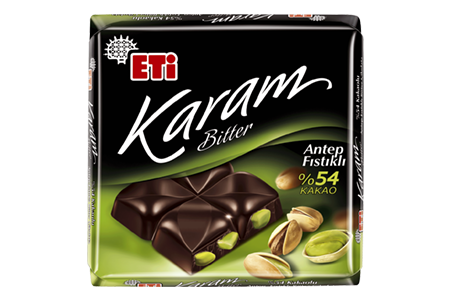 Eti Karam Bitter Chocolate with 54% Cocoa and Pistachio